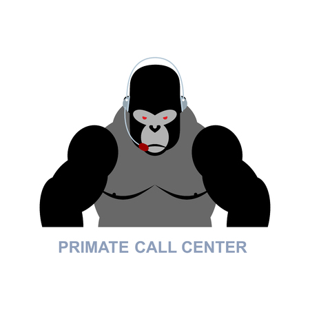 responds: Primate call center. Monkey and headset. Gorilla responds to phone calls. Customer service from back support. Wild animal in call center. Illustration