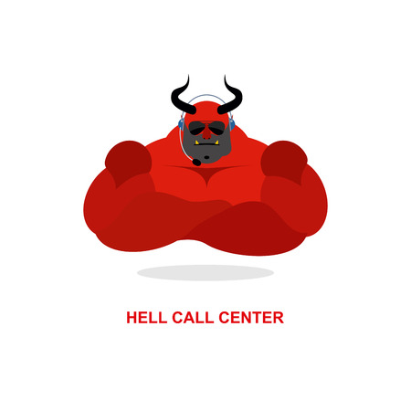 Hell call Center. Satan with headset. Devil responds to phone calls. Customer feedback for purgatory. Customer service support.