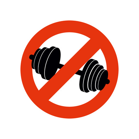 strikethrough: Stop bodybuilding. Ban sport. Prohibiting sign for fitness. Red strikethrough.