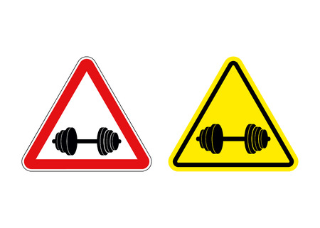 yellow attention: Attention fitness. Warning sign sport. Red and yellow road signs with barbell.