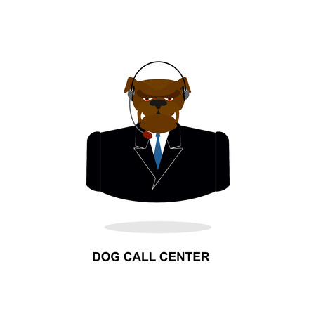 responds: Doggy call Center. Dog with headset. Pet in costume responds to phone calls. Customer feedback for dogs. Customer service support.