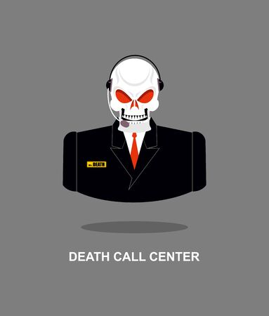 death: Death Call Center. Skull with  headset. Skeleton in suit responds to phone calls. Office skeleton Mister Death. Customer feedback for underworld. Customer service support.