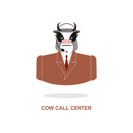 responds: Cow call Center. Bull with  headset. Farm animal costume responds to phone calls. Customer feedback for farm. Customer service support.