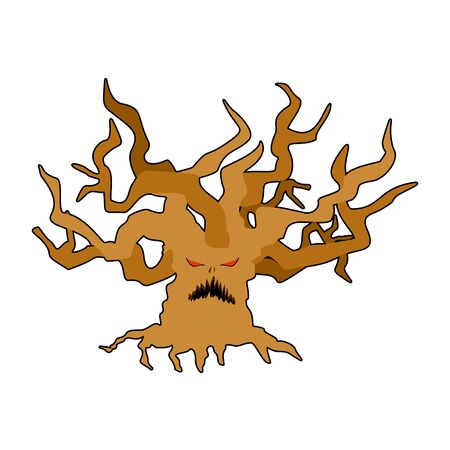 terrible: Terrible tree monster with evil eyes. Ancient tree monster with dry twigs.