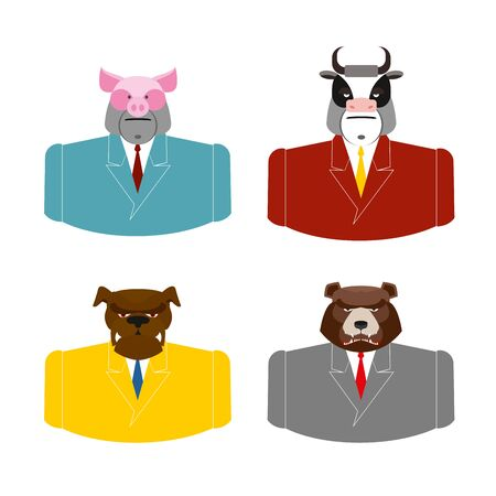office attire: Set Animals businessmen. Farm animals in costume. Pig in business suit. Bull businessman. Bear in Office attire. Dog with tie.