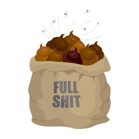 bullshit: Open Sack of shit. Full of shit. Bag full of shit. Shit in bag and flies.
