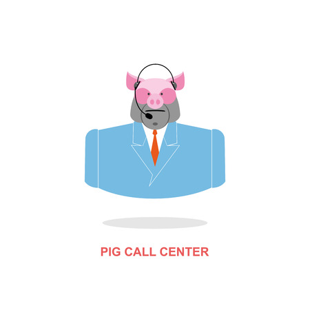 responds: Pig call Center. Pig with headset. Farm animal costume responds to phone calls. Customer feedback for farm. Customer service support. Illustration