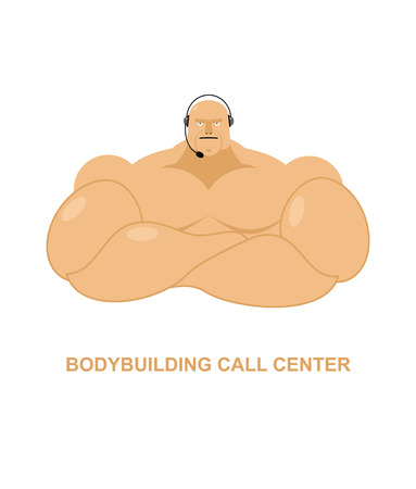 man customer support: Bodybuilding call Center. Athlete with  headset Man with big muscles responds to phone calls. Customer feedback for athletes. Customer service support.
