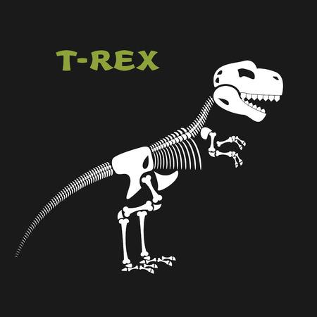 esqueleto: Esqueleto tiranosaurio Rex. Huesos y cráneo de dinosaurio. T-Rex Muerto. Huesos de animales antiguos de período Jurásico. Vectores