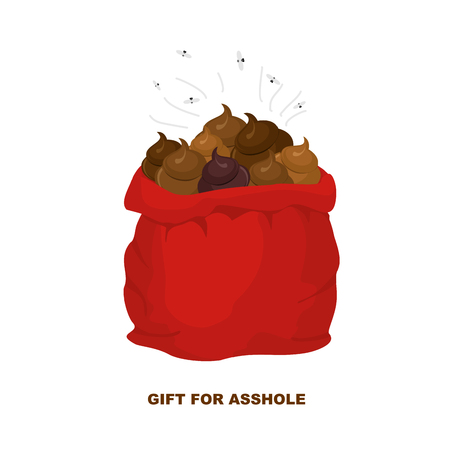dog poop: Christmas Gifts for bad people. Santa Claus with bag of shit. Gift for zasranca. Funny illustration for Christmas and new year. Illustration
