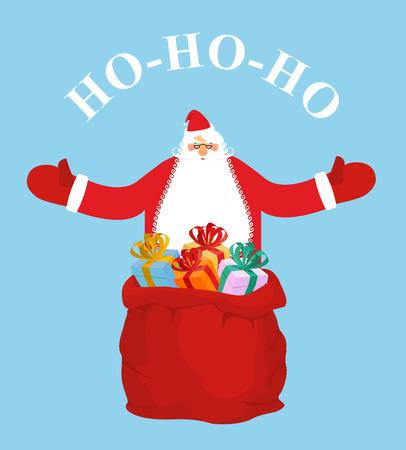 fluffy tuft: Santa Claus and gift bag. HO-HO-HO. Jolly Santa wishes you  happy Christmas. New year postcard, poster. Santa spread his hands.