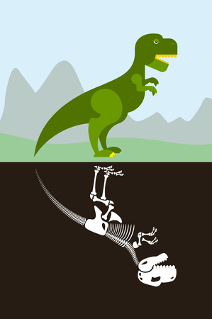 trex: Tyrannosaurus in nature. Skeleton in ground soil. Jurassic monster and dice ancient Raptor.