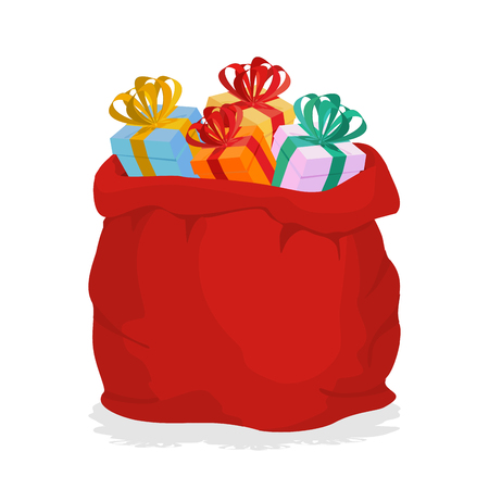 Red Sack Santa Claus with gifts. Holiday outdoor gift bag with boxes. Christmas accessory. New year object.