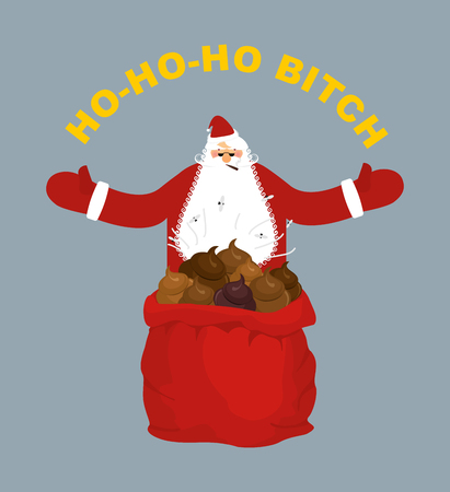 shit: Bad, evil Santa Claus. Amoral Santa with cigar. Red bag with shit. Ho-Ho-Ho bitch Illustration