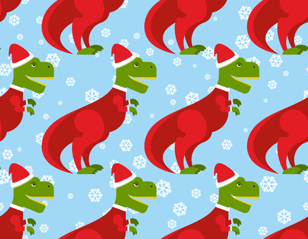 T レックス サンタ クロース シームレス パターン。クリスマス恐竜背景。古代のつるには、サンタ クロースが身を包んだ。新年お祝いテクスチャで