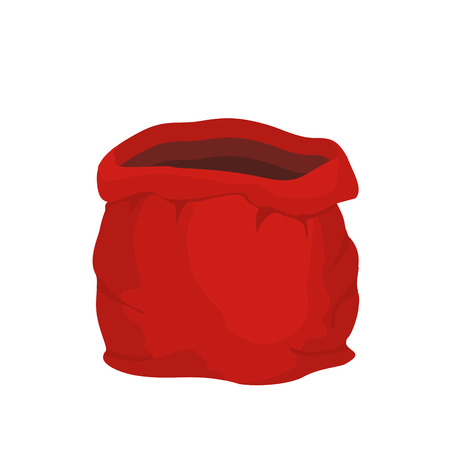 Open empty sack Santa Claus. Red big bag for gifts. Christmas and new year holiday bag Stock Illustratie