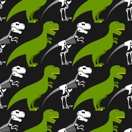trex: Dinosaur skeleton and seamless pattern. Green prehistoric monster with a skull and crossbones. Texture for baby tissue. Ornament of ancient reptile.