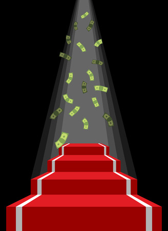 lucky money: Red carpet and rain of money. Falling dollars for winner. Prestal for lucky. Road to wealth and prosperity, luxury.