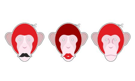 Set mask red monkey: primacy with moustache. Monkey with big red lips. Collection of masks for Christmas and new year holiday.