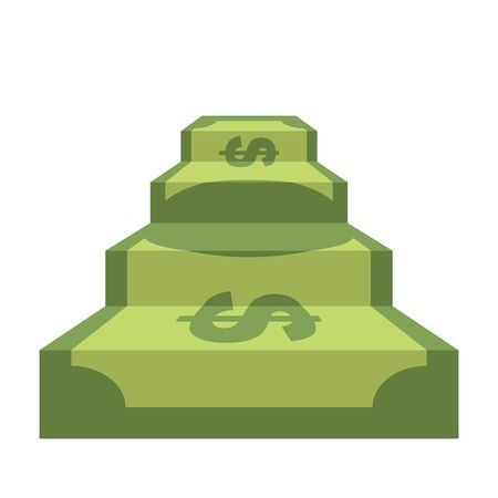 Steps from dollar. Track of  money. Staircase in form of money. Ascent to wealth and success. Business illustration of wealth.