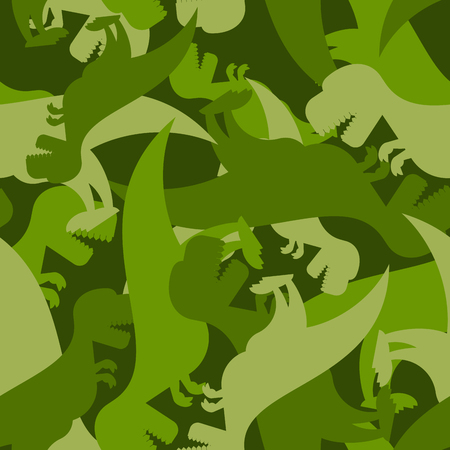 Military pattern dinosaur. Army texture of Tyrannosaurus. Camo background of t-Rex. Soldier ornament of prehistoric Raptor.