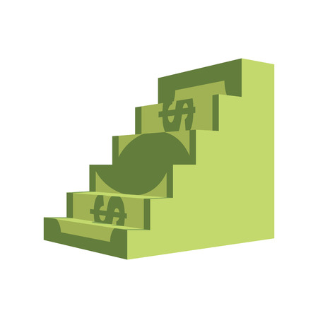 bajando escaleras: Dollar ladder. Steps out of  money. Ascent to wealth. Business illustration chart money income growth. Vectores