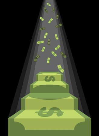 ladder: Pedestal out of money. Ladder to wealth of dollars. Rain of cash. Podium illuminated by light. Business illustration metaphor. Achieving wealth and luxury.