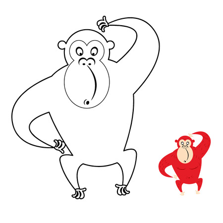 gorila: Monkey coloring book. Red monkey makes surprise muzzle. Funny primacy of symbol of Chinese new year.