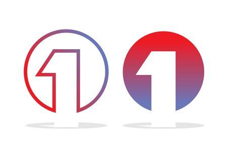 numero uno: El número uno del logotipo. Figura 1 emblema de empresa. Elementos del modelo del diseño para los conceptos de negocio. Vectores