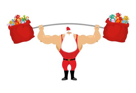 Starke Weihnachtsmann hält Hantel und Geschenktüte. Sport für Weihnachten Sankt mit Bart. Rote Tasche mit Geschenken für Verschlimmerung der Stange. Leistungsstarke Sankt im roten Sportanzug.