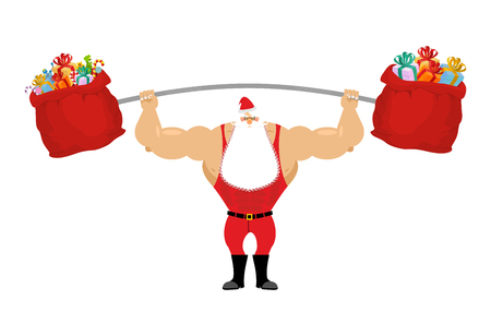 Strong Santa Claus holding barbell and gift bag. Sports for Christmas Santa with beard. Red bag with gifts for aggravation of rod. Powerful Santa in red sport suit.