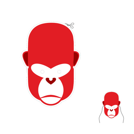 primacy: Red monkey mask for new year. Carnival mask to celebrate Christmas and new year. Primacy of  symbol of Chinese new year. Illustration