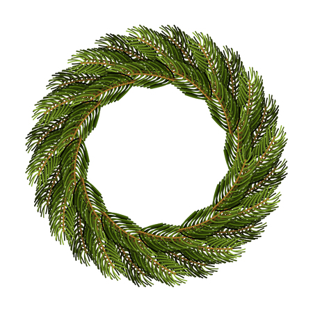 Traditional wreath of spruce branches for Christmas decoration. Round frame of green tree branch.