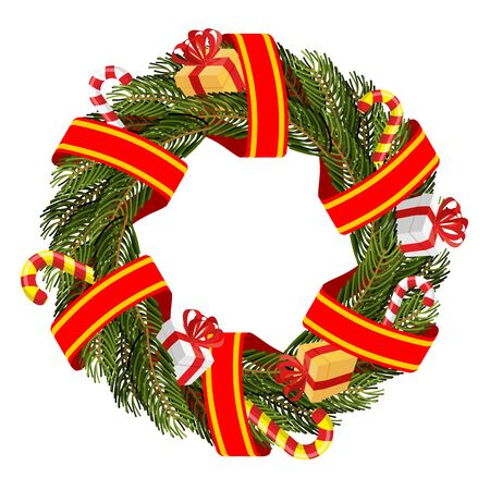 red tape: Christmas wreath of spruce branches. Decoration for winter holiday. New year decoration for House. Christmas tree branches and red tape. Festive boxes with gifts and Mint traditional lollipop.