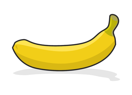 eatable: Yellow ripe banana on  white background. Tropical fresh fruit.