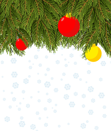revenge: Christmas background. Branch Christmas tree and Christmas balls. Background for greeting card for your winter holiday: Christmas and new year. Snowflakes. Revenge for text.