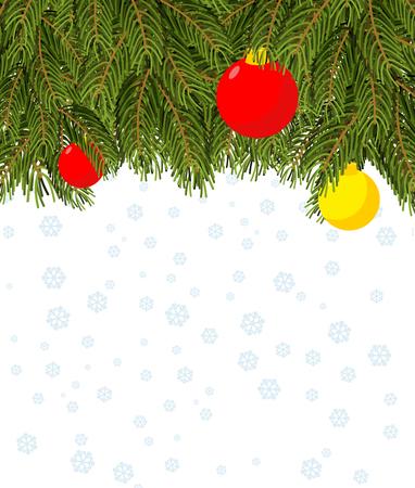 venganza: Fondo de la Navidad. Rama de un árbol de Navidad y bolas de Navidad. Fondo para la tarjeta de felicitación para sus vacaciones de invierno: Navidad y año nuevo. Copos de nieve. La venganza para el texto. Vectores