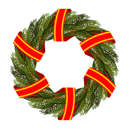 red tape: Traditional green wreath for Christmas. Christmas tree branches and red tape. Decorating for holidays: new years Eve. Round frame of green branches of a pine or FIR.