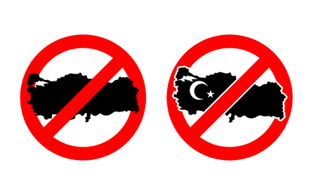 blacked: Stop Turkey. Ban for Turkish State. Ban for Turkish country. Red forbidding character. Map of Turkey are blacked out.