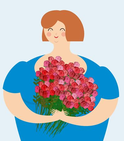 exciting: Cheerful kind woman with bouquet of roses. Exciting fat girl with flowers.