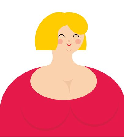 sexy belly: Cheerful woman. Fat girl in pink dress with smile. Illustration