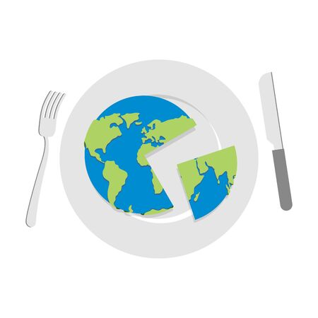 sphere of influence: Earth on plate. Globe cut with a knife. Cutlery: knife and fork. Globe food. Political kitchen.