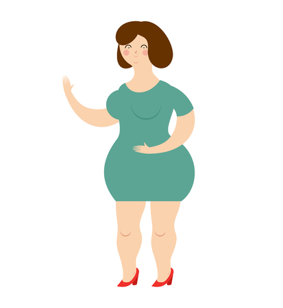 plus size: Woman in dress on white background. Cheerful  girl in green dress. Fat girl smiles.