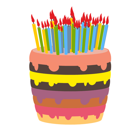 sweetness: Birthday cake and lots of candles. Burn  lot of candles. Sweetness for holiday. Beautiful confectionary product on white background.