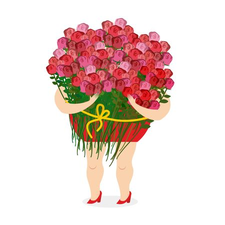 large woman: Woman holding large bouquet of roses. Girl and lots of color. Congratulation with any holiday.