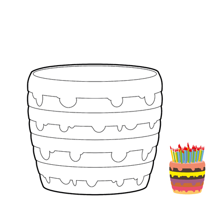 multilayer: Cake coloring book. Confectionery for birthday. Sweetness for holiday. Multi-layer birthday cake with candles. Colour cream.