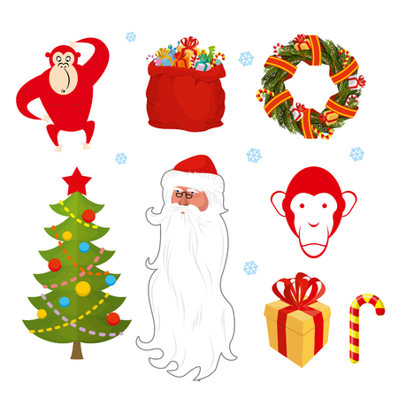 sweetness: Christmas set. Chinese new year objects: red monkey bag Santa Claus. Wreath of pine branches. Christmas tree decorated with festive. Gift box with red bow. Santa Claus with a large beard. Sweetness candy Mint.
