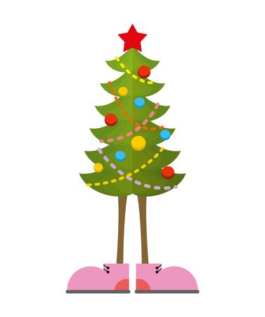 bootees: Christmas Tree in boots. Christmas tree in shoe. Pink shoes. Decorated tree for holiday New year Illustration