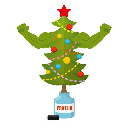 強力なクリスマス ツリー。大きな筋肉を持つボディービルダー木選手。お祝い木銀行タンパク質。スポーツ栄養と新年。ステロイドに飾られたクリ  イラスト・ベクター素材