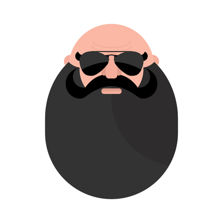 skinhead: Head of  mustachioed biker with beard. Brutal man. Stern grandfather wearing sunglasses.